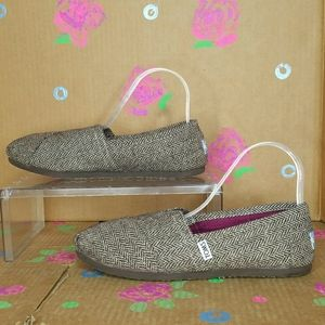 TOM'S Brown / Gold Tweed Slip On Shoes Size 9